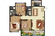 东方紫苑 A3户型,3室2厅2卫,128平米