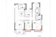 E1户型,3室2厅2卫,128平米