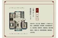 壹品原筑户型C三室两厅一卫