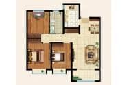 振华领秀城A户型3室2厅1卫105平