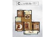 大业锦绣景园户型C户型122.23平三室两厅一卫