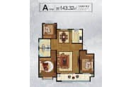 大业锦绣景园户型A户型143.32平三室两厅两卫