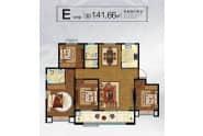 大业锦绣景园户型E户型141.66平四室两厅两卫