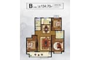 大业锦绣景园户型B户型134.7平三室两厅两卫
