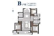 绿城百合新城书香园户型B三室两厅两卫125平