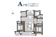绿城百合新城书香园户型A三室两厅一卫110平