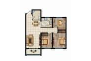 瑞华新都汇户型图悦G三室两厅一卫91.97平