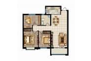 瑞华新都汇户型悦K三室两厅两一卫101.35平