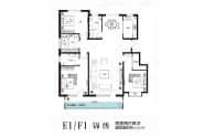 金都明德府户型图E1F1四室两厅两卫152平