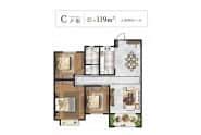明德里户型图C三室两厅一卫119平