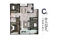 江南艺境户型C三室两厅两卫125平