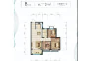 华耀悦珑湾户型B三室两厅一卫112平