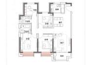 E户型,4室2厅2卫,128平米