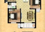 B区2-3户型-2室2厅1卫-87.9㎡