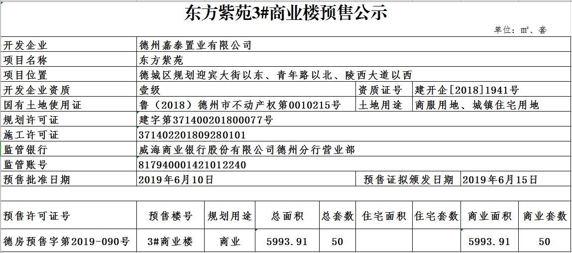 东方紫苑3#商业楼预售公示